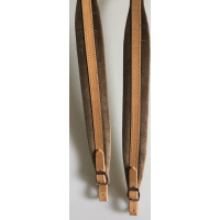 Extra Long Accordion Shoulder Straps 45mm wide padding Tan Leather and Velvet Italian