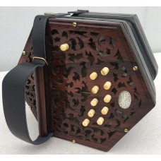 Lachenal 20 Key CG Vintage Anglo Concertina with Dark Wood Ends