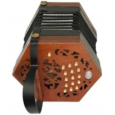 Lachenal Anglo CG 30 button 3 row concertina in Lightwood Mahogany finish with Steel Reeds and 5 Fold Papered Bellows, fast action and Bright Sound