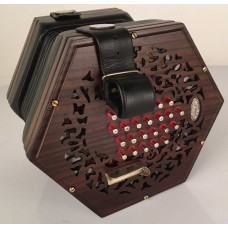 Lachenal 48 Key Paragon Rosewood Ended English Concertina with Steel Reeds and Bushed Metal Buttons Fully Restored and new bellows