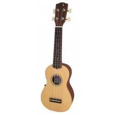 Lani LS-55 EQ Soprano Ukulele Spruce Top Mahogany Back and Sides with Belcat Pickup and Built In Tuner