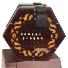 Lachenal English Concertina Tutor Model Dark Wooden Ends, 48 coloured buttons, 5 fold Bellows, Brass Reeds and Wooden Carry Case with Free Gift included.