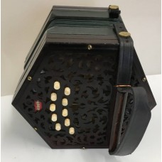 Lachenal 20 key Anglo Concertina Dark Wood Steel Reeds 5 Fold Bellows CG